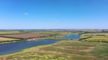fish eye : Farm on the shore of the pond. Aerial view.