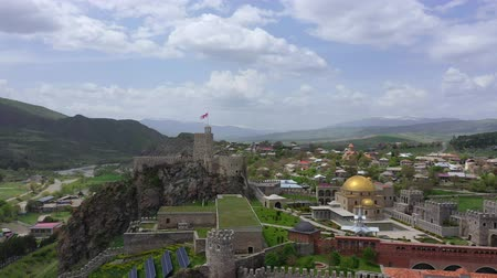 gürcü : Rabati Castle is a fortress in Akhaltsikhe, Georgia. Aerial view Stok Video