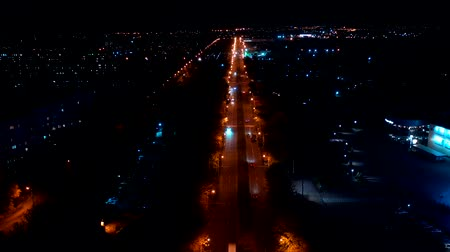 Time lapse of the night city. Aerial view of the city streets Stock Footage