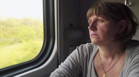 Woman sitting at the window of a moving train. Stock Footage
