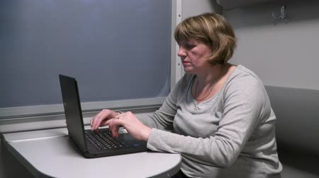 A woman works with a laptop near the window in a moving train.
