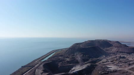 taş ocağı : Slag mountain on the seashore. Environmental pollution. Aerial view