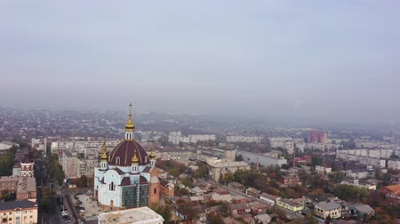 Smog in the city. You can see the smoke from the chimneys. Aerial view. Mariupol Ukraine