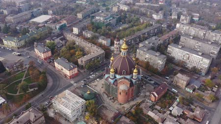 A large Orthodox church in the city center from a birds eye view. Mariupol Ukraine