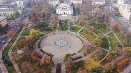 A fountain in a city park aerial view. Mariupol Ukraine. Stock Footage