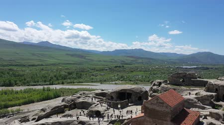 archeology : Aerial view. Uplistsikhe is an ancient cave city, one of the first cities in Georgia. Uplistsikhe carved into the rock