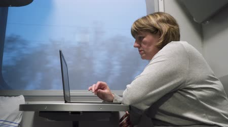 A woman is riding a train. She is sitting by the window and working with a laptop.