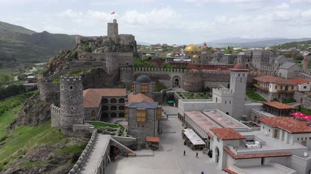 bástya : Akhaltsikhe, Georgia - May 7, 2019: Akhaltsikhe fortress Rabat - a fortress of the XVI-XVIII centuries. in the south of Georgia, in the city of Akhaltsikhe. Aerial view