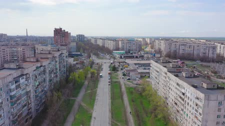 Mariupol, Ukraine - April 30, 2019: Aerial view of city streets and architecture