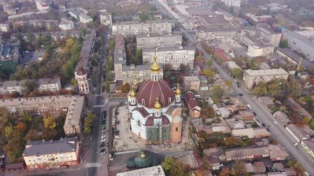Mariupol, Ukraine - April 30, 2019: Aerial view of cityscape. View from birds eye of the Orthodox Church.