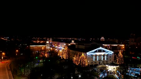 карусель : New Years illumination in a city square. Hyperlapse at night