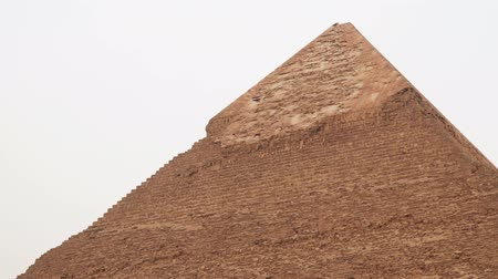 sarcophagus : Top of the Chephren Pyramid at Giza Egypt Stock Footage