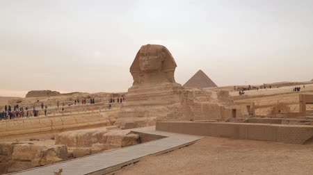 esfinge : The Great Sphinx of Giza, commonly referred to as the Sphinx of Giza or just the Sphinx. Egypt Stock Footage
