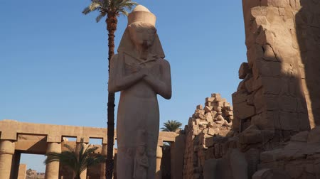 заслуга : Statue of Ramses II with his daughter Merit-Amon at the Karnak Temple in Luxor. Egypt Стоковые видеозаписи