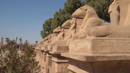 hieroglifa : Karnak Temple. Avenue of sphinxes with rams head. Around Luxor. Egypt Egyptian Art.