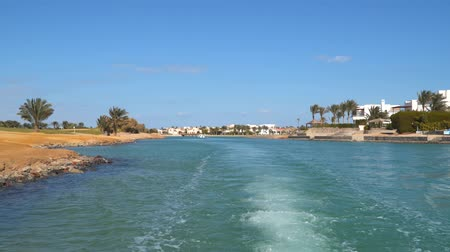 Canals of El Gouna in Egypt. View from a boat sailing along the canals.