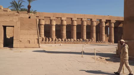 obelisk : Luxor, Egypt - January 16, 2020: Guard at Karnak Temple in Luxor