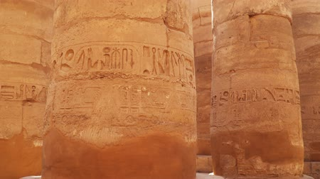 hieroglifa : Columns with drawings in Karnak Temple in Luxor Egypt Stock mozgókép
