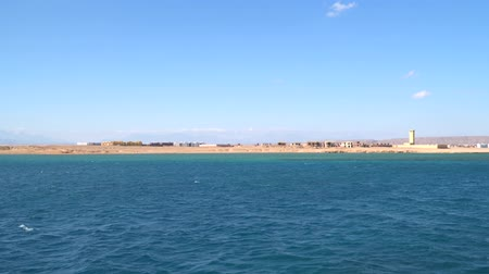 Red Sea coastline in Egypt. View from the sea Stock Footage