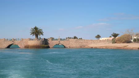 manor : El Gouna Egypt. View of hotels and houses from a boat floating on channels.