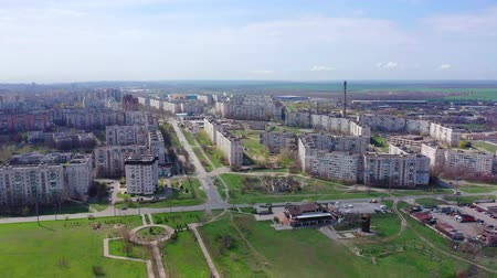 residential district : Sleeping area of the city aerial view. Spring Mariupol Ukraine