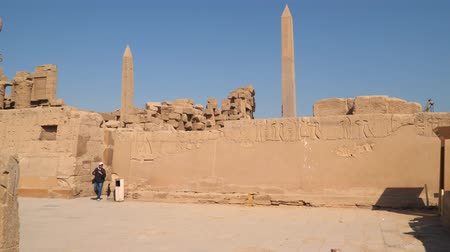 hieroglifa : Luxor, Egypt - January 16, 2020: Obelisks at the Karnak Temple in Luxor