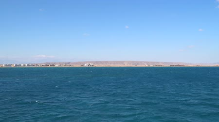 Beautiful coastline of the Red Sea in Egypt. View from a floating ship
