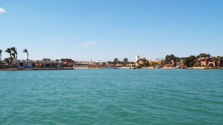 El Gouna is an Egyptian tourist resor. It is located on the Red Sea in the Red Sea Governorate of Egypt. View from a floating ship