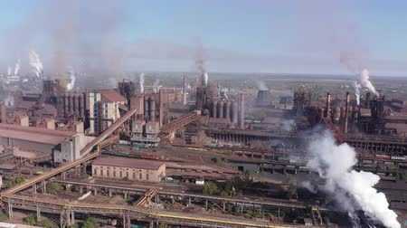 Aerial view of a metallurgical plant. Environmental pollution. Stock Footage