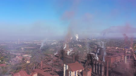 Environmental pollution. Aerial view of a metallurgical plant.