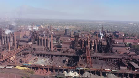 Ecological problems. Aerial view of a metallurgical plant.