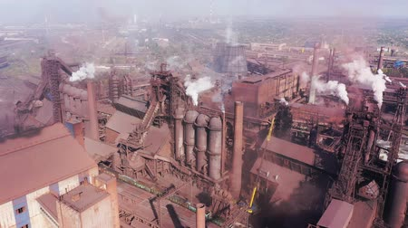 fornalha : Blast furnaces. Aerial view of a metallurgical plant.