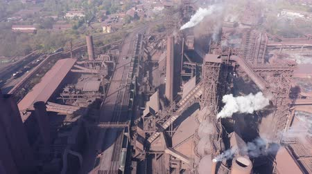 Aerial view of a metallurgical plant. Blast furnaces. Stock Footage