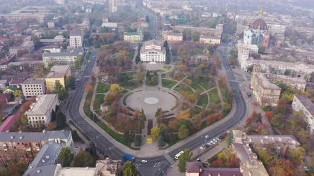 Mariupol Ukraine. Aerial view of the city. City in the fog.