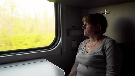 mozdony : A woman in a train looks out the window. Train in motion Stock mozgókép