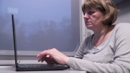first class : A woman in a train works with a laptop. Train in motion