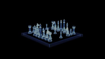 шах и мат : Hologram of a rotating chessboard with figures. 3d animation of a chess board game on a black background with a seamless loop Стоковые видеозаписи