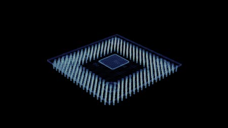 tranzistor : Hologram of a rotating computer microchip. 3d animation of a chip on a black background with a seamless loop