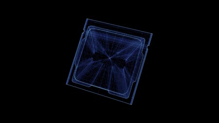 tranzisztor : Hologram of a rotating computer processor. 3D animation of a microchip CPU on a black background with a seamless loop Stock mozgókép