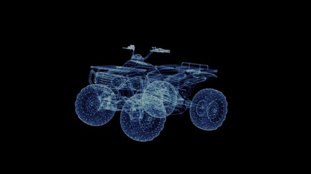 demonstrar : Hologram of a rotating off-road quad bike. 3D animation of a four-wheeled motorcycle with a seamless loop