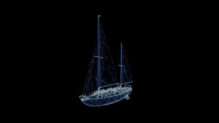 marine technology : The hologram of a rotating sailing ship. 3D animation of a retro ship with a seamless loop