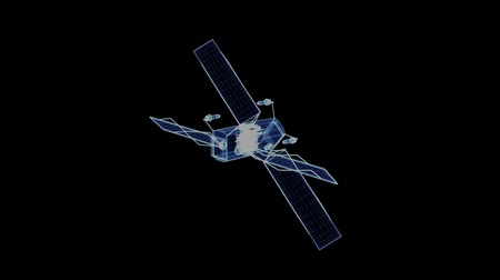 projeção : The hologram of a rotating satellite. 3D animation of a space transmitter with a seamless loop