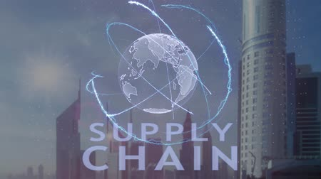 ellát : Supply Chain text with 3d hologram of the planet Earth against the backdrop of the modern metropolis. Futuristic animation concept of global business Stock mozgókép