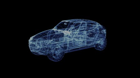 off : The hologram of a rotating modern Suv. 3D animation of family car on a black background with a seamless loop