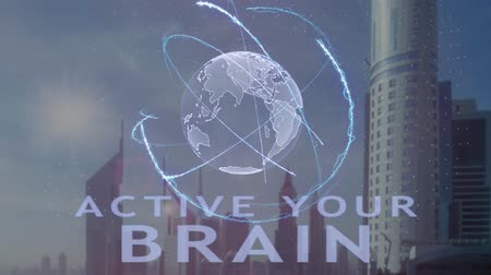 tür : Active your brain text with 3d hologram of the planet Earth against the backdrop of the modern metropolis. Futuristic animation concept Stok Video