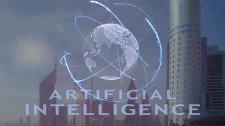 проекция : Artificial Intelligence text with 3d hologram of the planet Earth against the backdrop of the modern metropolis. Futuristic animation concept