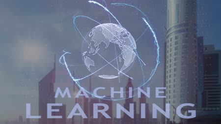 definição : Machine Learning text with 3d hologram of the planet Earth against the backdrop of the modern metropolis. Futuristic animation concept