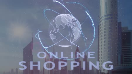 pénzt keres : Online shopping text with 3d hologram of the planet Earth against the backdrop of the modern metropolis. Futuristic animation concept