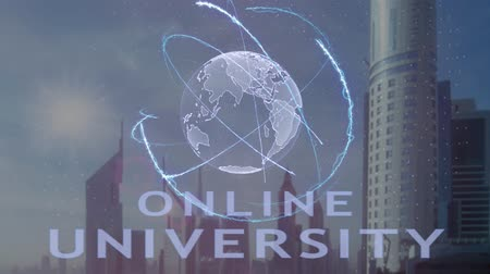 akademický : Online university text with 3d hologram of the planet Earth against the backdrop of the modern metropolis. Futuristic animation concept