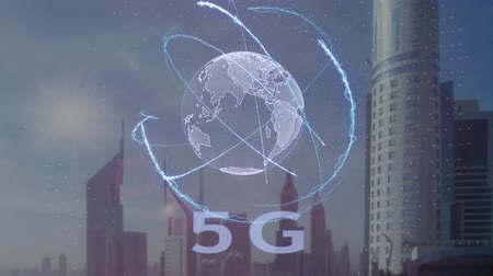 standardization : 5G text with 3d hologram of the planet Earth against the backdrop of the modern metropolis. Futuristic animation concept Stock Footage